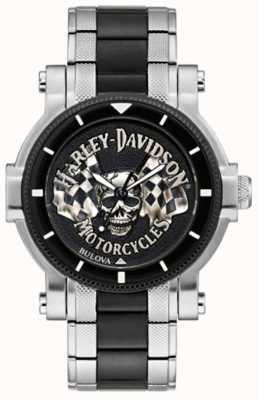 Harley Davidson Męska czaszka i flagi | dwukolorowa stalowa bransoletka | czarna tarcza 78A124