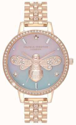 Olivia Burton Sparkle Bee dla kobiet | bransoleta ze stali w kolorze różowego złota | zestaw kryształów OB16GB04