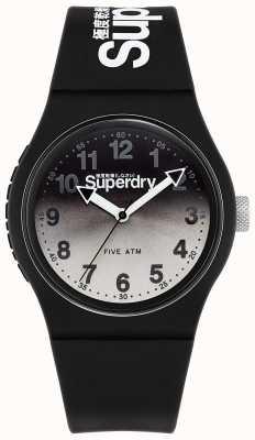 Superdry Miejski lazer | czarny silikonowy pasek | czarno-szara tarcza SYG198EB