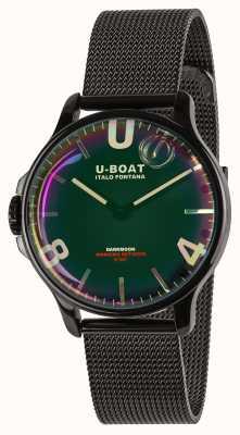 U-Boat Darkmoon 38mm | bransoletka z czarnej siatki | tęczowa tarcza 8470/MT