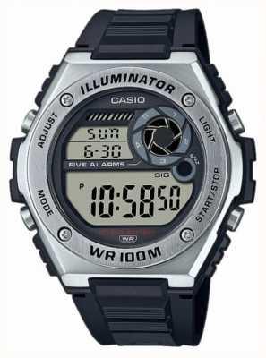 Casio Oświetlacz | czarny silikonowy pasek MWD-100H-1AVEF
