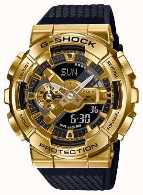 Casio G-shock | teksturowany pasek z żywicy | złota metalowa koperta | GM-110G-1A9ER
