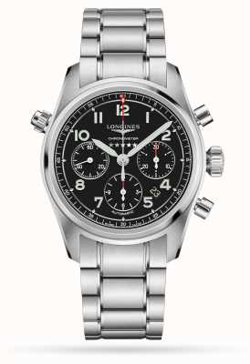 Longines Spirit chronograf z automatyczną czarną tarczą ze stali nierdzewnej L38204536