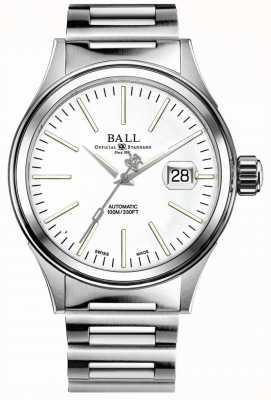 Ball Watch Company Przedsiębiorstwo strażackie | bransoleta ze stali nierdzewnej | biała tarcza NM2188C-S20J-WH