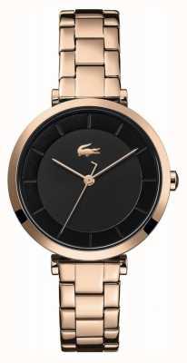 Lacoste | damskie | Genewa | bransoleta ze stali w kolorze różowego złota | czarna tarcza | 2001142