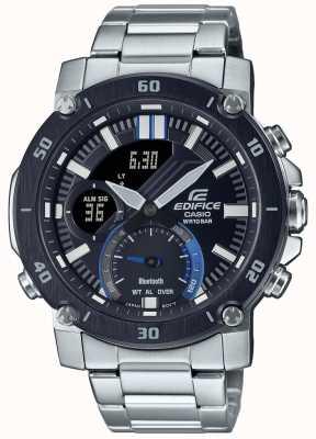 Casio Gmach | bransoleta ze stali nierdzewnej | czarna / niebieska tarcza | ECB-20DB-1AEF