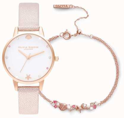 Olivia Burton Pod morzem | zestaw upominkowy zegarek i bransoletka | różowy OBGSET141
