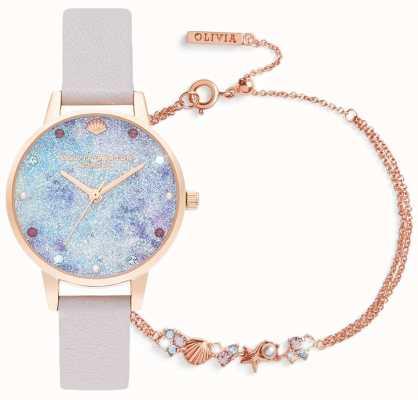 Olivia Burton Pod morzem | zestaw upominkowy zegarek i bransoletka | liliowy OBGSET142