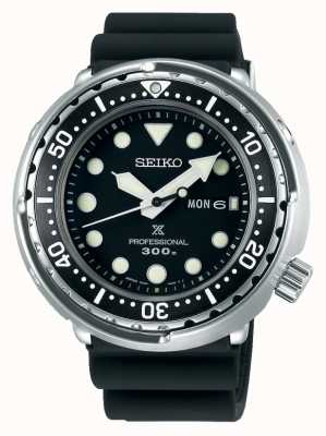 Seiko Prospex dla mężczyzn   czarna silikonowa bransoletka   czarna tarcza S23629J1