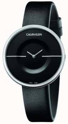 Calvin Klein Mania | czarny skórzany pasek damski | czarna tarcza KAG231C1