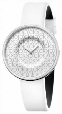 Calvin Klein Mania | biały skórzany pasek damski | biała tarcza KAG231LX