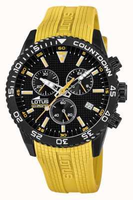 Lotus Żółty silikonowy pasek męski | czarna tarcza chronografu L18672/4