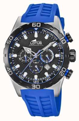 Lotus Kolor | niebieski silikonowy pasek męski | czarna tarcza chronografu L18677/4