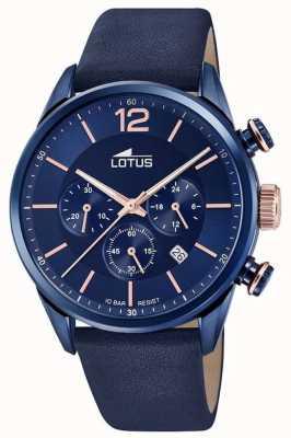 Lotus Niebieski skórzany pasek męski | niebieska tarcza chronografu L18681/2