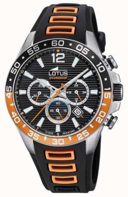 Lotus Czarny / pomarańczowy silikonowy pasek męski | czarna tarcza chronografu L18697/1
