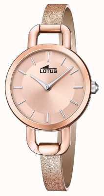Lotus Skórzany pasek damski z brokatem | tarcza z różowego złota L18747/1