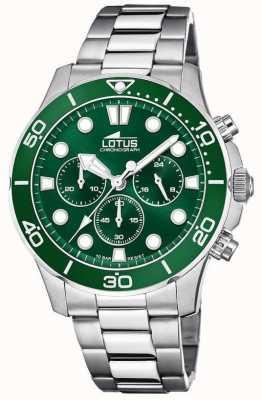 Lotus Męska bransoletka ze stali nierdzewnej | zielona tarcza chronografu L18756/2