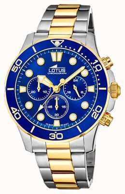 Lotus Dwukolorowa stalowa bransoletka męska | niebieska tarcza chronografu L18757/1