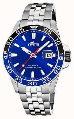 Lotus Męska bransoletka ze stali nierdzewnej | niebieska tarcza | czarna / niebieska ramka L18766/1