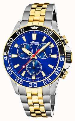Lotus Dwukolorowa stalowa bransoletka męska | niebieska tarcza chronografu L18767/1