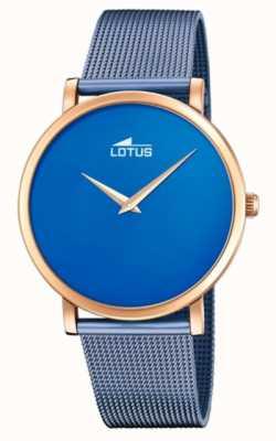 Lotus Niebieska stalowa bransoletka damska | niebieska tarcza | koperta z różowego złota L18773/2