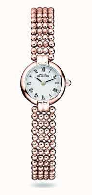 Michel Herbelin Perles   damska bransoleta ze stali platerowanej różowym złotem   biała tarcza 17433/BPR08