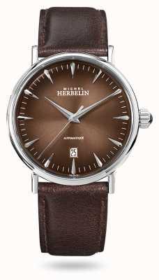 Michel Herbelin Inspiracja automatyczna | brązowy skórzany pasek męski | brązowa tarcza 1647/AP27
