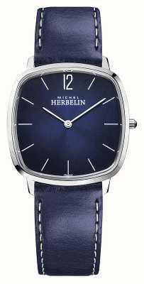Michel Herbelin Miasto | niebieski skórzany pasek męski | niebieska tarcza 16905/15BL