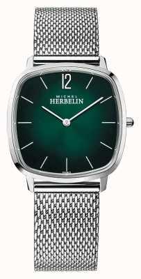Michel Herbelin Miasto | męska bransoletka z siatki stalowej | zielona tarcza 16905/16B
