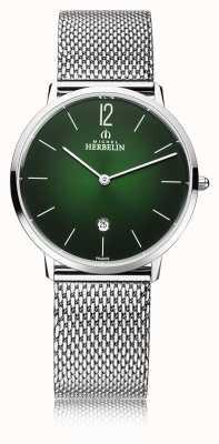 Michel Herbelin Miasto | męska bransoletka z siatki stalowej | zielona tarcza 19515/16NB
