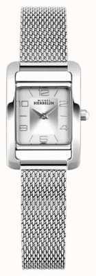 Michel Herbelin Aleja V   bransoleta z siatki stalowej   srebrna prostokątna tarcza 17437/21B