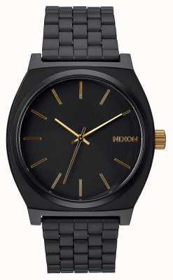 Nixon Licznik czasu   matowy czarny / złoty   czarna stalowa bransoletka ip   czarna tarcza A045-1041-00