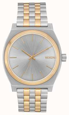 Nixon Licznik czasu   srebro / złoto   dwukolorowa stalowa bransoletka   srebrna tarcza A045-1921-00