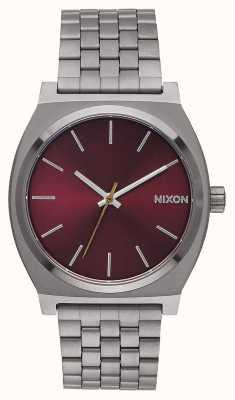 Nixon Licznik czasu   brąz / głęboki burgund   bransoletka ip z brązu   bordowa tarcza A045-2073-00