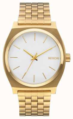 Nixon Licznik czasu   złoty / biały   złota bransoletka ip   biała tarcza A045-508-00