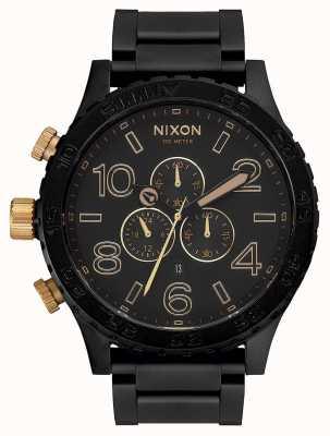 Nixon 51-30 chrono   matowy czarny / złoty   czarna bransoletka ip   czarna tarcza A083-1041-00