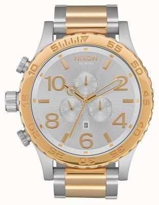 Nixon 51-30 chrono   srebro / złoto   bransoletka dwukolorowa   srebrna tarcza A083-1921-00