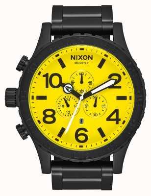Nixon 51-30 chrono   wszystko czarno-żółte   czarna stalowa bransoletka ip   żółta tarcza A083-3132-00