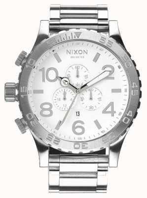 Nixon 51-30 chrono   wysoki połysk / biały   bransoleta ze stali nierdzewnej   biała tarcza A083-488-00
