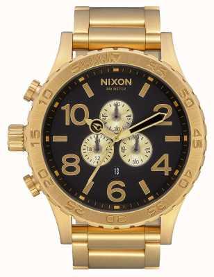 Nixon 51-30 chrono   cały złoty / czarny   złota bransoletka ip   czarna tarcza A083-510-00