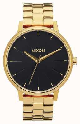 Nixon Kensington   cały złoty / czarny promień słońca   złota bransoletka ip   czarna tarcza A099-2042-00