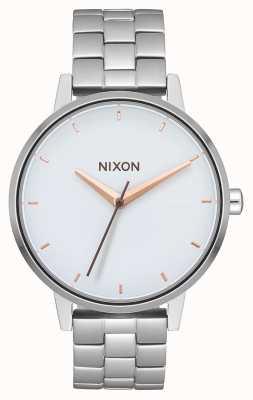 Nixon Kensington   srebrny / biały / różowe złoto   bransoleta ze stali nierdzewnej   biała tarcza A099-3029-00