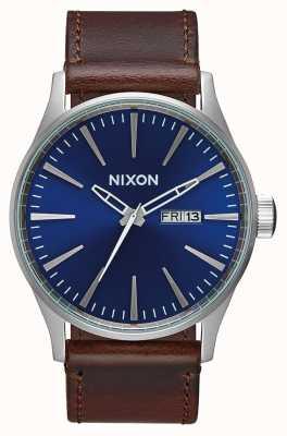 Nixon Skóra wartownicza   niebieski / brązowy   brązowy skórzany pasek   niebieska tarcza A105-1524-00