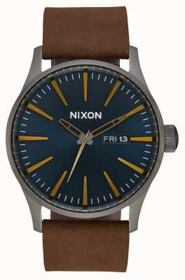 Nixon Skóra wartownicza   brąz / indygo / brązowy   brązowy skórzany pasek   tarcza w kolorze indygo A105-2984-00