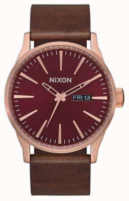 Nixon Skóra wartownicza   różowe złoto / bordowy / brązowy   brązowy skórzany pasek   A105-3211-00