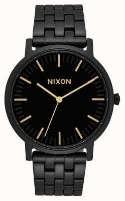Nixon Porter   cały czarny / złoty   czarna stalowa bransoletka ip   czarna tarcza A1057-1031-00