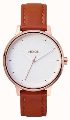 Nixon Skóra Kensington   różowe złoto / biały   brązowy skórzany pasek   biała tarcza A108-1045-00