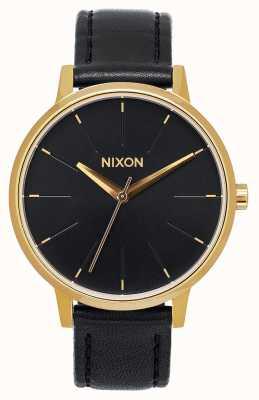 Nixon Skóra Kensington   złoty / czarny   czarny skórzany pasek   czarna tarcza A108-513-00