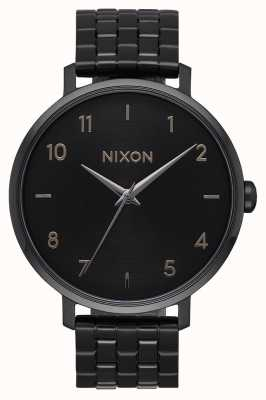 Nixon Strzałka   wszystko czarne   czarna stalowa bransoletka ip   czarna tarcza A1090-001-00