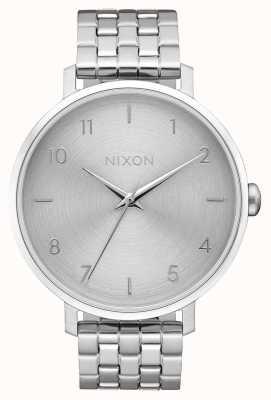 Nixon Strzałka   cały srebrny   bransoleta ze stali nierdzewnej   srebrna tarcza A1090-1920-00